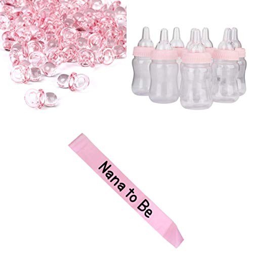 LOVIVER 50 Mini-sucettes Baby Shower Favors + 12 Petits Biberons + 1 Nana to Be Sash