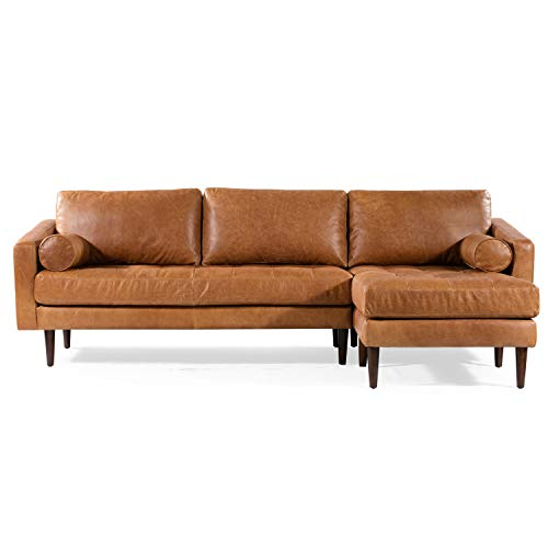 POLY & BARK Napa Right-Facing Sectional Sofa in Full-Grain Pure-Aniline Italian Tanned Leather in Cognac Tan