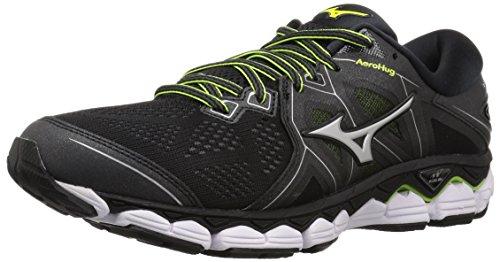 Mizuno Men's Wave Sky 2 Running Shoe, Black/Safety Yellow, 9.5 D US