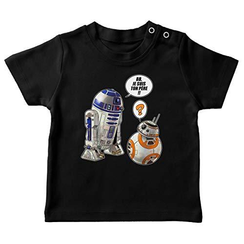T-Shirt bébé Noir Parodie Star Wars - BB-8 et R2-D2 - BB, Je suis Ton père !! (T-Shirt de qualité Premium de Taille 12 Mois - imprimé en France)