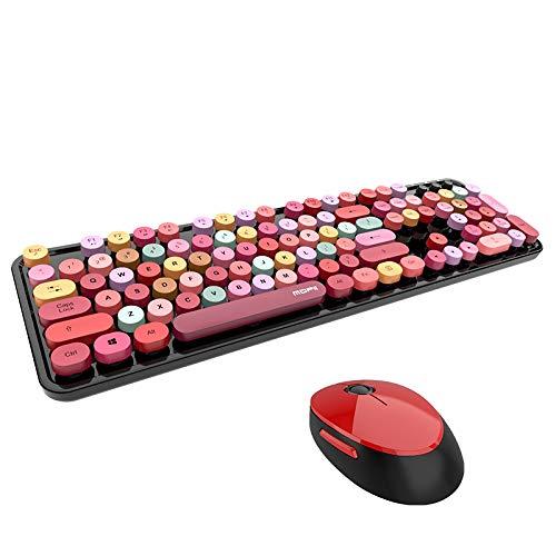 Vvciic Retro 2.4G drahtlose Tastatur Maus Set Lippenstift gemischte Farbe, Farbe Computer Office Kit Vintage Home Sweet Cute tragbare 2,4 GHz und Mädchen Universal Desktop