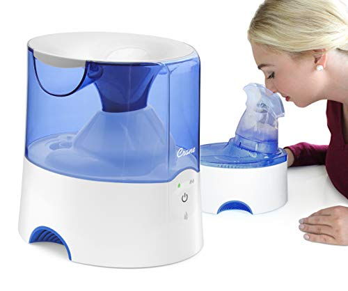 Crane 2 in 1 Personal Steam Inhaler & Warm Mist Humidifier, 0.5 Gallon, Filter Free, Whisper Quite, Germ Free Mist, for Home Bedroom and Office, FSA Elidable, Blue & White