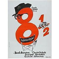 8 と半分 8 1/2 フェデリコフェリーニ イタリア レトロ ヴィンテージ フィルム 映画装飾ポスター ウォール キャンバス 家の装飾 - 60x80cm x1 フレームなし