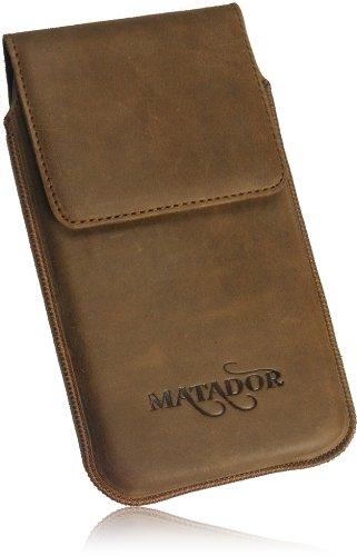 MATADOR Slim Design Vintage Look Antik Echt Leder Tasche für Huawei Ascend W1 Handytasche Schutz Hülle Etui Vertikaltasche Tabacco mit Magnetverschluß und Ausziehhilfe - 2