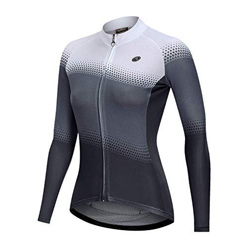 NUCKILY Damen Langarmshirts Radtrikots Radfahren Jersey Langarm Fahrrad Kleidung Shirts Tragen Mit 4 Taschen