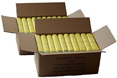 Gelber Sack *Sparpack* (100 Rollen = 1300 Säcke) - 2 Kartons mit jeweils 50 Rollen á 650 Gelbe Säcke