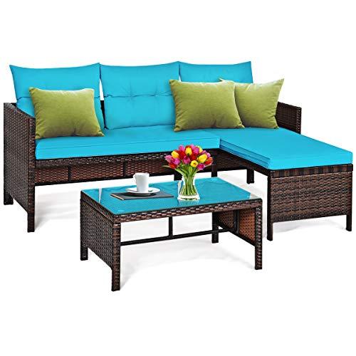 Tangkula Patio Corner Sofa Set 3 Piece, Outdoor Rattan Sofa Set, Includes Lounge Chaise, Loveseat & Coffee Table, Patio Garden Poolside Lawn Backyard Furniture (Turquoise)