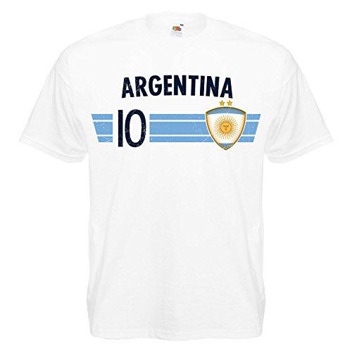 Fußball WM T-Shirt Fan Artikel Nummer 10 - Weltmeisterschaft 2018 - Länder Trikot Jersey Herren Damen Kinder Argentinien Argentina S