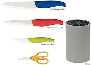 Habi 9746100Bloque Redondo para 3Cuchillos Tijeras, Polipropileno/cerámica, Gris/Multicolor