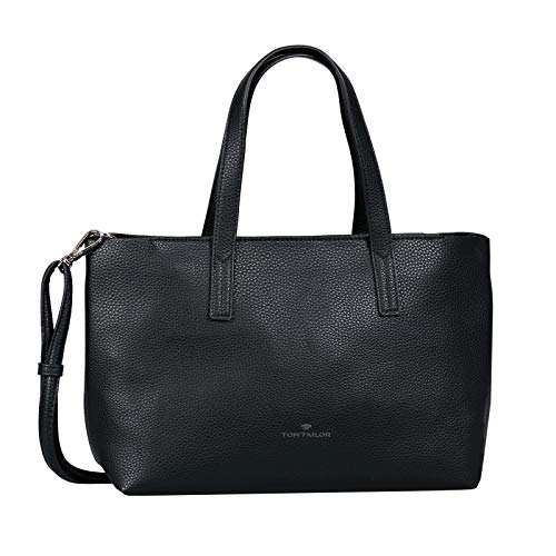 TOM TAILOR Shopper Damen, Marla, (Schwarz), 34x21x12 cm, TOM TAILOR Schultertasche, Handtaschen Damen