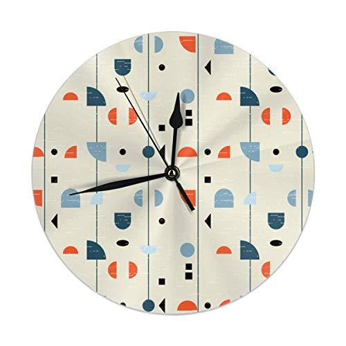 Mesllings Reloj de pared geométrico inspirado por mediados de siglo moderno telas, reloj redondo de 9.84 pulgadas, silencioso, decoración para el hogar o la cocina