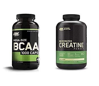 Optimum Nutrition Instantized BCAA Capsules Keto Friendly Branched Chain Essential Amino Acids  400 Count  with Micronized Creatine Monohydrate Powder Unflavored  120 Servings  - Bundle Pack