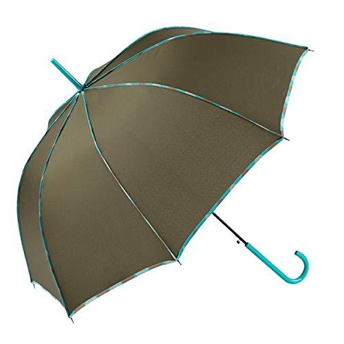 GOTTA Paraguas Largo de Mujer. Antiviento y automático, con Forma cúpula. Vivo Estampado y Tejido Liso - Verde