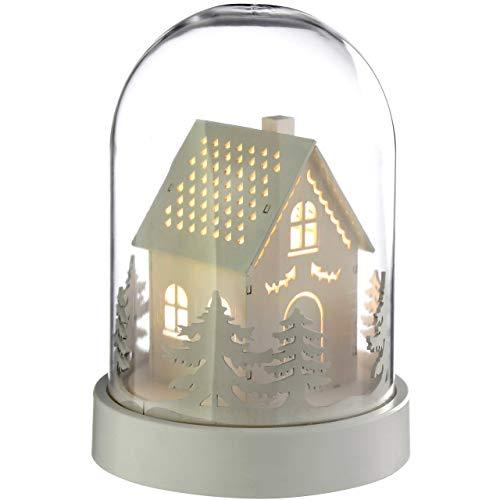 WeRChristmas, campana con casa in legno, pre-illuminata con calde luci LED, decorazione natalizia, Legno, White, 12.5 x 12.5 x 18.2 cm