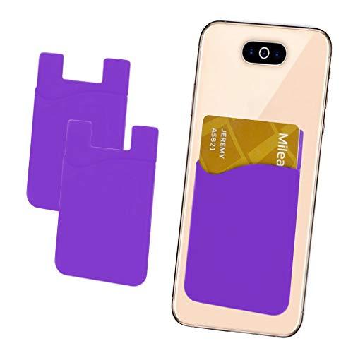 i-Tronixs - Confezione da 2 Porta Carte di Credito, in Silicone, con Adesivo 3M, per Nokia Asha 210 (Compatibile con iPhone/Android/Tablet)