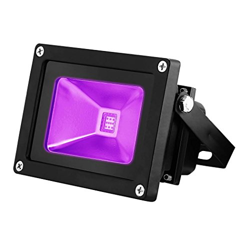 YKDtronics UV LED Black Light, Indoor/Outdoor 10W UV LED Flood Light, Ultra Violet LED Flood Light for Neon Glow, Blacklight Party, Stage Lighting, Fluorescent Effect, Glow in The Dark and Curing