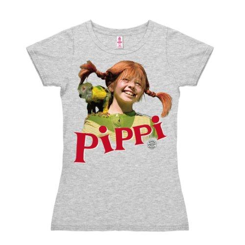 Logoshirt Pippi Langstrumpf Äffchen Damen/Girls T-Shirt I Grafik-Shirt kurzärmlig mit Rundhalskragen I Lizenziertes Originaldesign I Logo-Print langlebig & hochwertig I Baumwolle I Vintage-Stil
