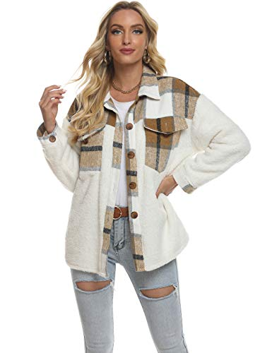 Tanming Women's Plaid Brushed Flannel Shacket Sherpa Patchwork Button Down Shirt (Khaki-Fleece-L)