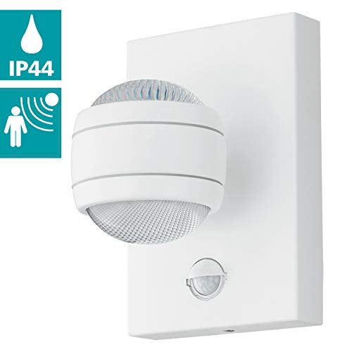 EGLO LED Außen-Wandlampe Sesimba 1, 2 flammige Außenleuchte inkl. Bewegungsmelder, Sensor-Wandleuchte aus Stahl und Kunststoff, Farbe: Weiß, IP44