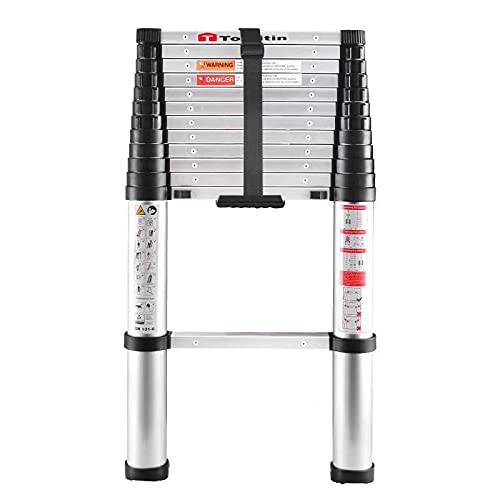 TOOLITIN 3.8M Teleskopleiter, EIN-Knopf-Rückzugs-Aluminium-Teleskop-Verlängerungsleiter, langsame Designleitern, tragbar für tägliche Haushalts- oder Wohnmobilarbeiten, Kapazität 330 Pfund