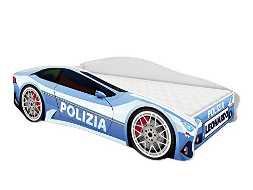 ACMA Lettino Auto per Bambini + Materasso per Bambini Polizia (140x70 cm + Nome)