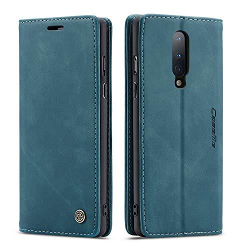 mvced Handyhülle Kompatibel mit OnePlus 8,Premium Leder Flip Hülle Schutzhülle mit Standfunktion,Blau