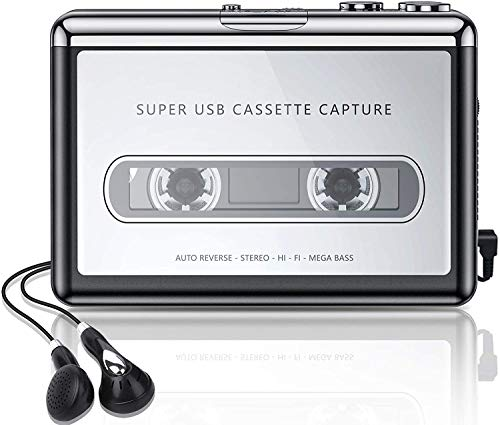 Tobo Cassette Player,Cassette Tape to MP3 Converter, Via USB Portable Cassette Tape Converter Captures MP3 Audio Music,with Headphones,Convert Walkman Tape Cassette Compatible with Mac PC Laptop