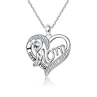 Sllaiss Love Heart Mom Necklace 925 Sterling Silver Birthstone Pendant Necklaces Birthday Mother's Day Jewelry Gift for Women