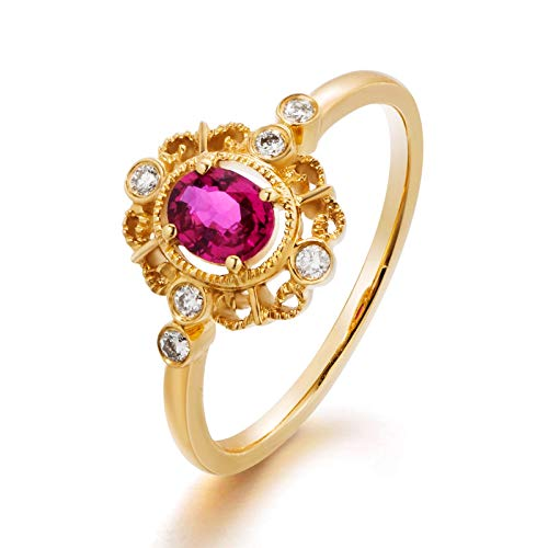 Amody Women'S Rings in Yellow Gold, Promise Rings and Bands Vintage Ring with Ruby and Diamond 0.404 carat Size K 1/2