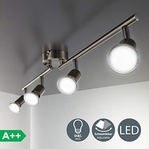 B.K. Licht plafonnier LED 4 spots pivotants & orientables, 4 ampoules LED 3W GU10, barre spots plafond salon salle à manger cuisine couloir, 2 bras tournants, lumière blanche chaude