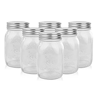 Golden Spoon Mason Jars, With Regular Lids, and Lids for Drinking, Regular Mouth, Dishwasher Safe, BPA Free, (Set of 6) (16 oz/Pint)