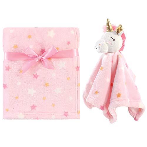Luvable Friends Unisex Baby Unicorn Themed Baby Bedding Set, Unicorn Blanket And Security Blanket, One Size