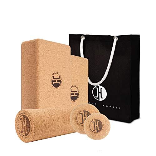 JUCKER HAWAII Yoga Starter & Faszien Massage Set XL - Yogablock 2er Set, Faszienball 2er Set und Faszienrolle aus Kork