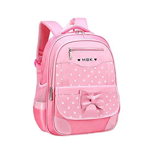 Cartella da ragazza primaria in nylon con fiocco a farfalla rosa zaino con borsa a mano scuola scuola scuola elementare 5-12 anni con astuccio portamatite per bambini, M (9-12 anni), One Size