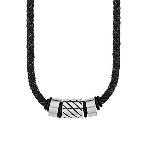 amor Halsband amor Herren-Kette Lederband 45 cm schwarz geflochten Edelstahl Beads