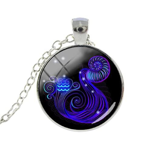 12 cadenas largas del zodiaco Leo Virgo con colgante de cabujón de cristal, signo del zodiaco, collar chapado a la moda, regalo de cumpleaños para mujeres y hombres