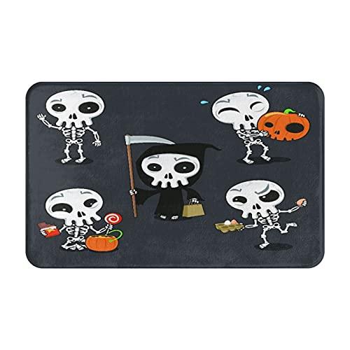 FOURFOOL Felpudo de Entrada Interior Alfombra Naranja Feliz Halloween Esqueleto Dibujos Animados Disfraz de Calavera Atracciones espeluznantes Otoo Tapete para Puerta Lavable para Cocina bao balcn