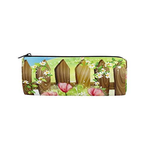 Bennigiry Cartoon Gartenzaun Zylinder Federmäppchen Reißverschluss Stifttasche Multifunktions Schreibwaren Tasche Reise Make-up Tasche