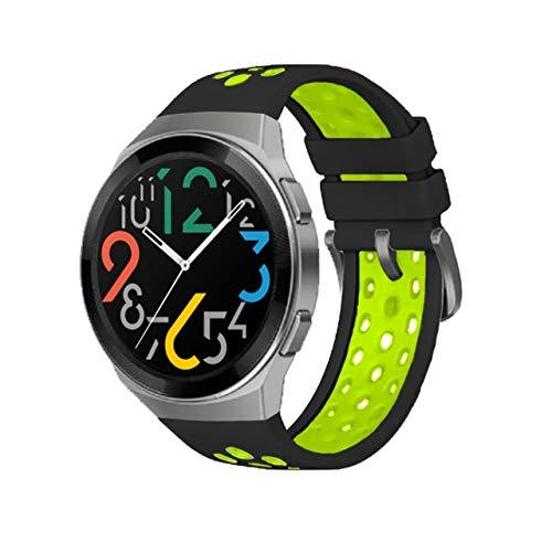 NIORFOA 2021 Nueva Correa de Silicona Oficial de Dos Colores para Huawei Watch GT 2E Dedicated Dediced Edition Watch Band para Watch GT 2e Accessories (Band Color : Black Green, Size : For GT 2e)