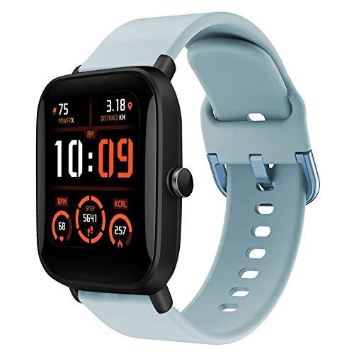 Correa deportiva de repuesto compatible con bandas Amazfit Bip U Pro, correa de reloj de silicona compatible con Bip U Pro Watch Band Mujer Hombre Azul Cielo
