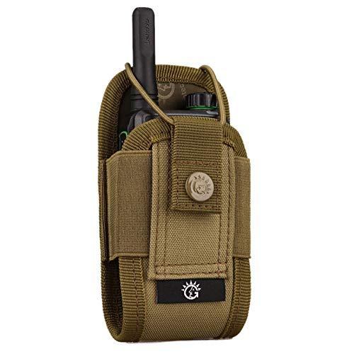 BAIGIO Walkie Talkie Funda Bolsa Militar Multi-Función Bolsa Carcasa Funda Case de Nylon para Walkie-Talkie Radio,Dispositivos Electronicos Portatiles y GPS, etc. Bolsa del Teléfono (Marrón)
