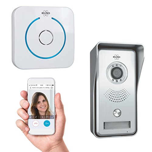 ELRO DVC040IP IP Videoportero-Cámara con visión Nocturna-con Gong de Puerta-Comunicación con vídeo en Directo vía App, Gris/Blanco, mit Türgong
