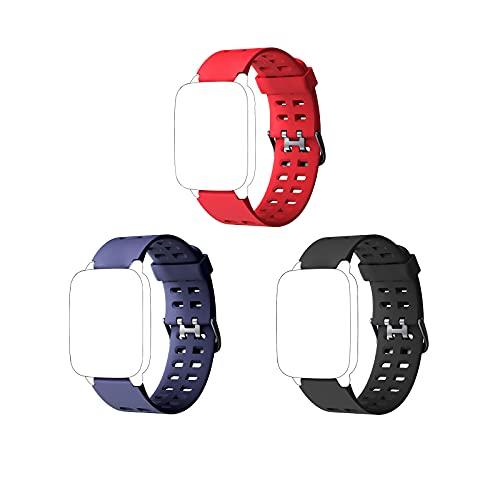 EASONGEE 3pcs / set Banda de repuesto Reloj inteligente suave ajustable Correa de repuesto Correa de reloj para ID205 Sport Fitness Tracker Reloj inteligente Pulsera Negro Azul Rojo