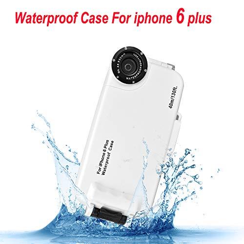 iPhone 6plus / 6s Plus Funda Impermeable Blanco, 130ft/40m Profundidad Sellado Completo A Prueba de Golpes, Nieve, Polvo, Agua Certificado IPX8 Buceo Natación Surf Snorkel Funda 5.5 Pulgadas