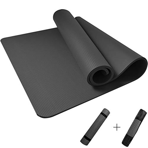 MEETGG Yoga Mats with Carry Strap, 15Mm, Non Absorbent, Home Gym, Fitness Exercise, Fat Loss, Pilates, Aerobic, Workout, Gymnastics