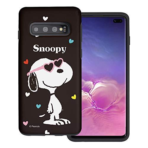 """Galaxy S10 ケース と互換性があります Peanuts Snoopy ピーナッツ スヌーピー ダブル バンパー ケース デュアルレイヤー 【 ギャラクシー S10 ケース (6.1"""") 】 (スヌーピー なサングラス 黒) [並行輸入品"""