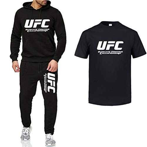 Sudadera con Capucha Impresa Traje Negro De Ropa Deportiva, MMA Al Aire Libre Fitness UFC con Capucha Impresa, Pantalones Y Medias Mangas, 5 Estilos (Color : Black-3, Size : Large)