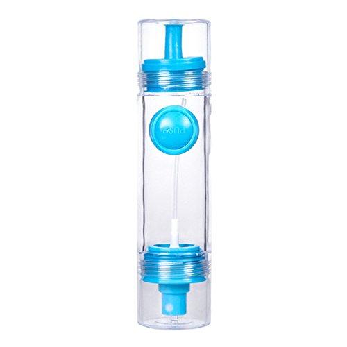 Kuinayouyi 2 en 1 Herramientas de Cocina Populares Botella de Aceite Pulverizador Olla Cruet Vinagre Dispensador de Aceite de Oliva Bomba Azul
