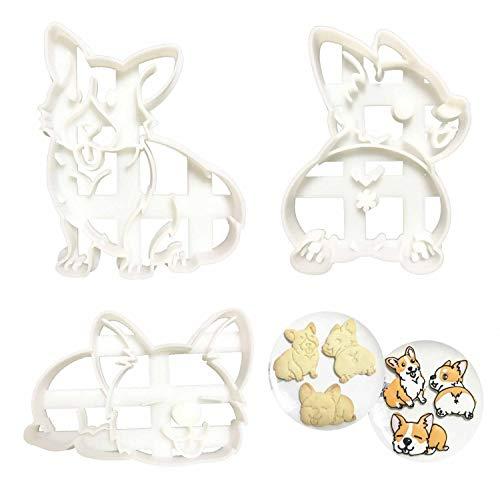 Corgi Cookie Cutters Set Plastic Shape Mold 3pcs