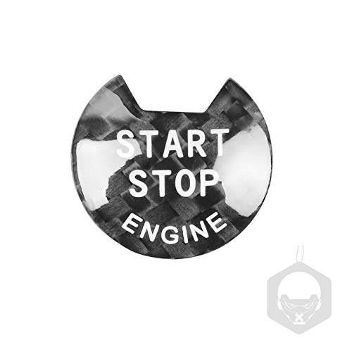 MIAOHAO Etiqueta engomada Arranque Coche Cubierta de botón de Parada de Motor de Motor de Fibra de Carbono, Pegatinas de Encendido sin Llave, para I-N-F-I-N-I-T-I (Farbname : Black)